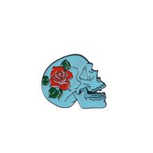 Tengkorak Pin Rose Bunga Prajurit Jepang Tengkorak Enamel Pin Lencana Kopi Bunga Pizza Kerangka Bros Kerah Pin Perhiasan Punk(China)