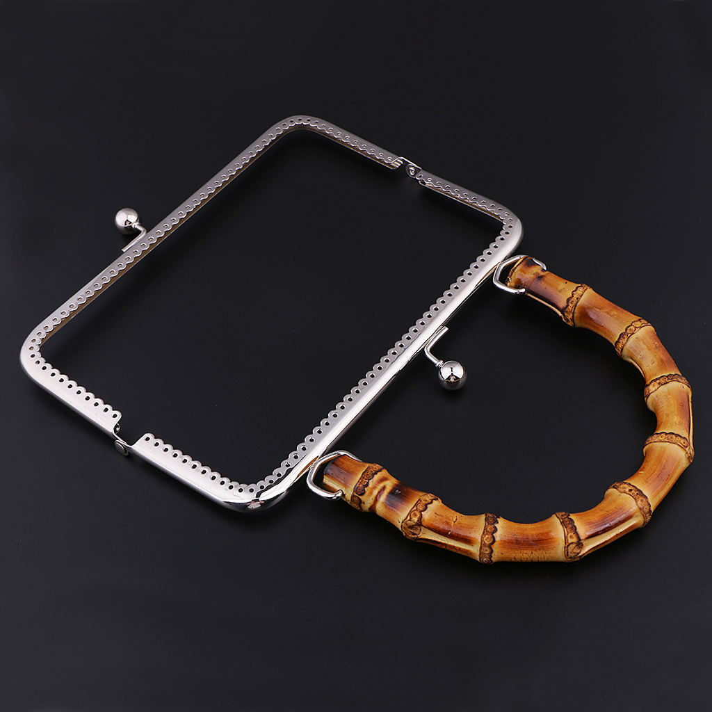 Metal Frame Kiss Clasp Lock with Bamboo Handle for DIY Coin Purse Bag Accessories