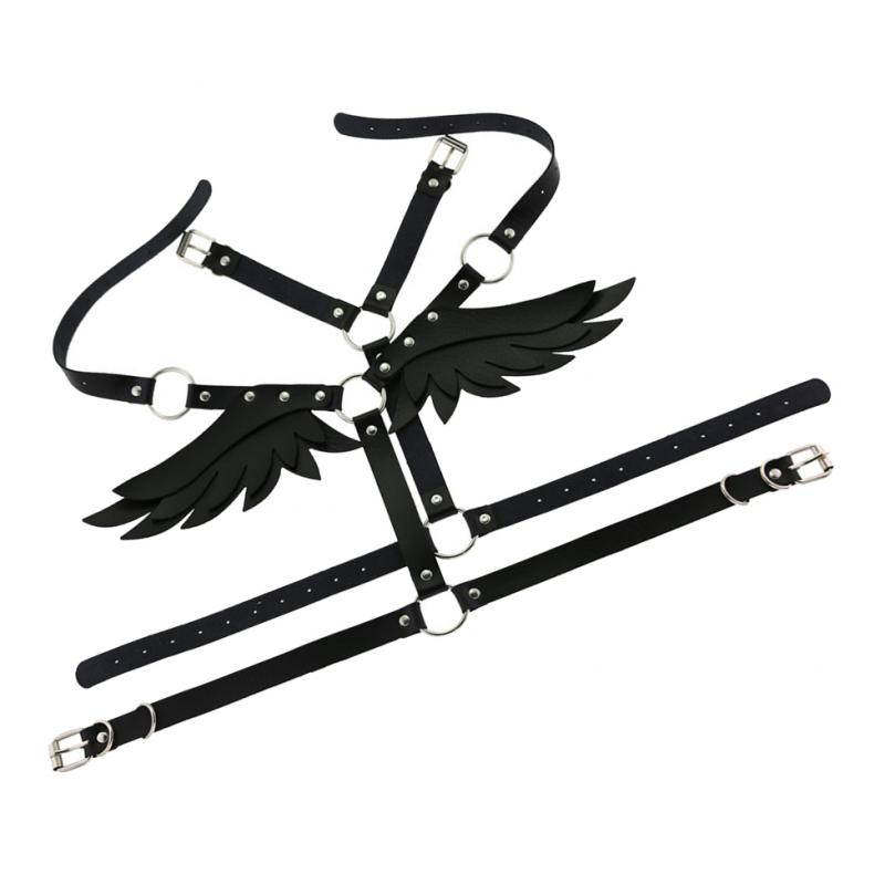 Women Angel Wings Harness Bralette Tops Punk Gothic Outfit Wings Leather Harness Cage Bra Sexy Lingerie Belt Fetish Punk Gothic