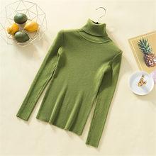 Turtleneck Solid Sweater Rajutan Wanita Musim Gugur Musim Dingin Lembut Kasmir Sweater Wanita Bodycon Dasar Murni Atasan Wanita Slim Jumper(China)