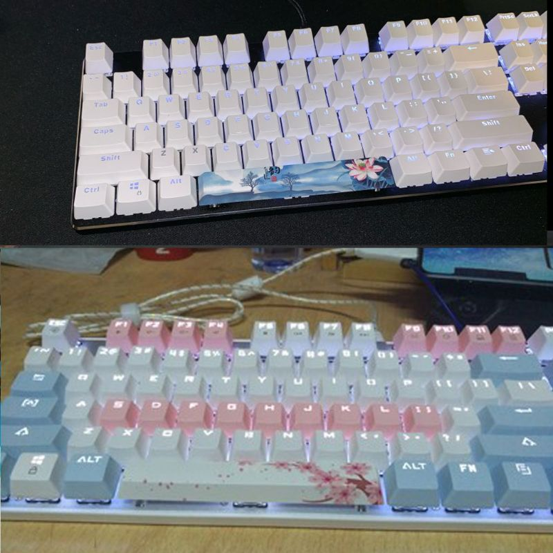 Color : A Keyboard keycaps PBT Space Key Cover DIY Mechanical Keyboard Keycaps -Language of Flowers 6.25U Space Keycaps