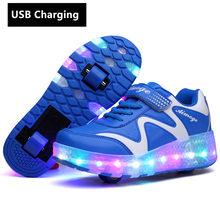 חג המולד אחד גלגלים USB טעינה בנות בני LED אור רולר סקייט נעליים לילדים ילדים סניקרס עם גלגלים שני גלגלים(China)