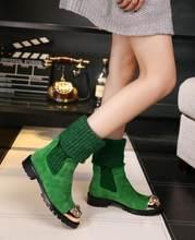 """Prova Perfetto Botas Mujer """"Mùa Đông Đan Giày Giữa Bắp Chân Phẳng Nhiều Màu Sắc Pha Lê Giày Nữ Thun Ấm Trơn giày Mới(China)"""