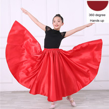 Satin soie lisse gitane enfants filles Flamenco danse jupe orientale inde bellydance vêtements espagnol salle de bal Costumes(China)