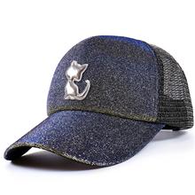 Degrade Glitter at kuyruğu beyzbol şapkası kadın Snapback baba şapka örgü kamyon şoförü kapakları dağınık şapka kadın ayarlanabilir Hip Hop şapka(China)