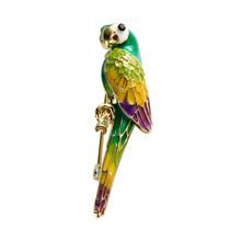 Neoglory Hidup Burung Lucu Burung Beo Bros untuk Wanita Cantik Enamel Hewan Bros Pin Natal Hadiah Perhiasan Kebun Binatang Souvenir(China)