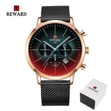2019 nouvelle mode couleur verre lumineux montre hommes haut de luxe marque chronographe hommes en acier inoxydable horloge d'affaires hommes montre-bracelet(China)