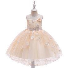 Новинка 2020 года; Детская одежда; Платье со шлейфом для девочек; Платье с вышивкой в виде ласточкиного хвоста; Свадебное платье принцессы с цв...(China)