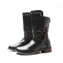 Fujin 2020 Neue Winter Stiefel Frauen Retro Schuhe Leder Stiefel Vintage Nieten Lace-Up mid-kalb Stiefel zapato qualität Leder Booties(China)