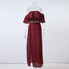 Conmoto נשים כבוי כתף אדום נקודת בציר ארוך שמלת קיץ מקסי שמלת שיפון לפרוע סקסי חוף שמלות Vestidos(China)