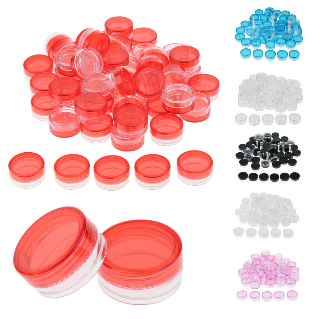 50Pcs 3g Round Cosmetic Jars Lotion Cream Balm Pot with Screw Lids for Lips Makeup Cosmetic Container Beads Jewelry Storage Case