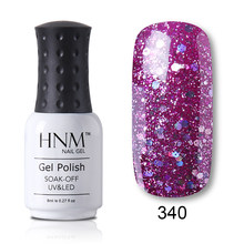 Esmalte de uñas HNM 8ML estampado Glitter Nail Art Vernis a Ongle Nagellak diamante Bling gel de uñas barniz híbrido lacado de la suerte(China)
