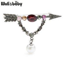 Wuli Bayi Merah Putih Berlian Imitasi Cinta Panah Bros Wanita Besar Pernikahan Perjamuan Bros Pin Hadiah(China)