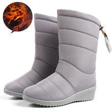 Winter Frauen Stiefel Stiefeletten Unten Schnee Stiefel Wasserdicht Quaste Dame Elastische Band winter Schuhe Frau Warme Pelz Schwarz Botas mujer(China)
