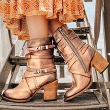Oeak Giày Bốt Nữ Cao Gót Giày Mũi Nhọn Đa Lớp Khóa Dây Kéo Sau Lưng Màu Retro 2019 Vintage dây Đai Khóa Giày(China)