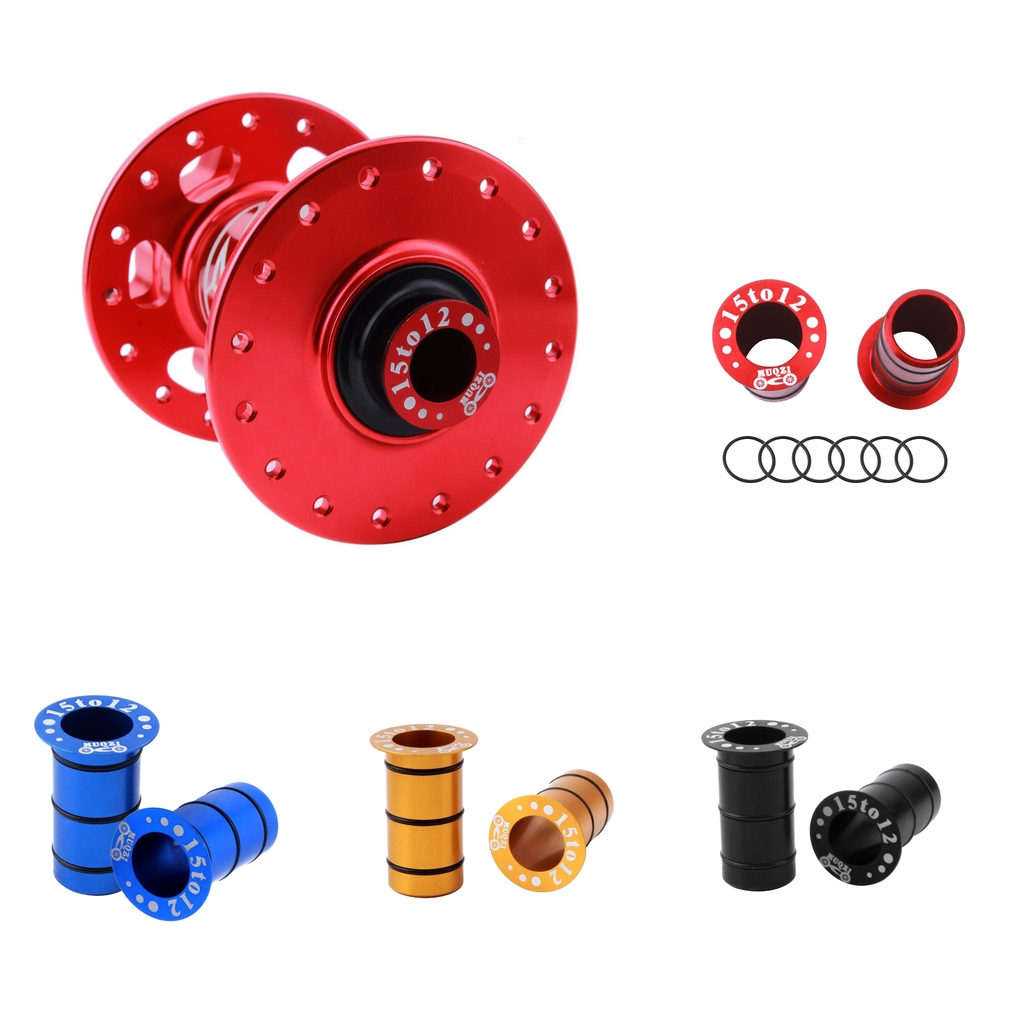 1 Pair of Bike Hub Front Tube Shaft Conversion Seat Adapter 15mm to 12mm Disc Brake - Colors for choose