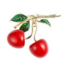 Neoglory Vintage Enamel Red Cherry Bros untuk Wanita 2020 Berkualitas Tinggi dan Elegan Trendi Perhiasan untuk Pesta Hadiah untuk Ibu(China)