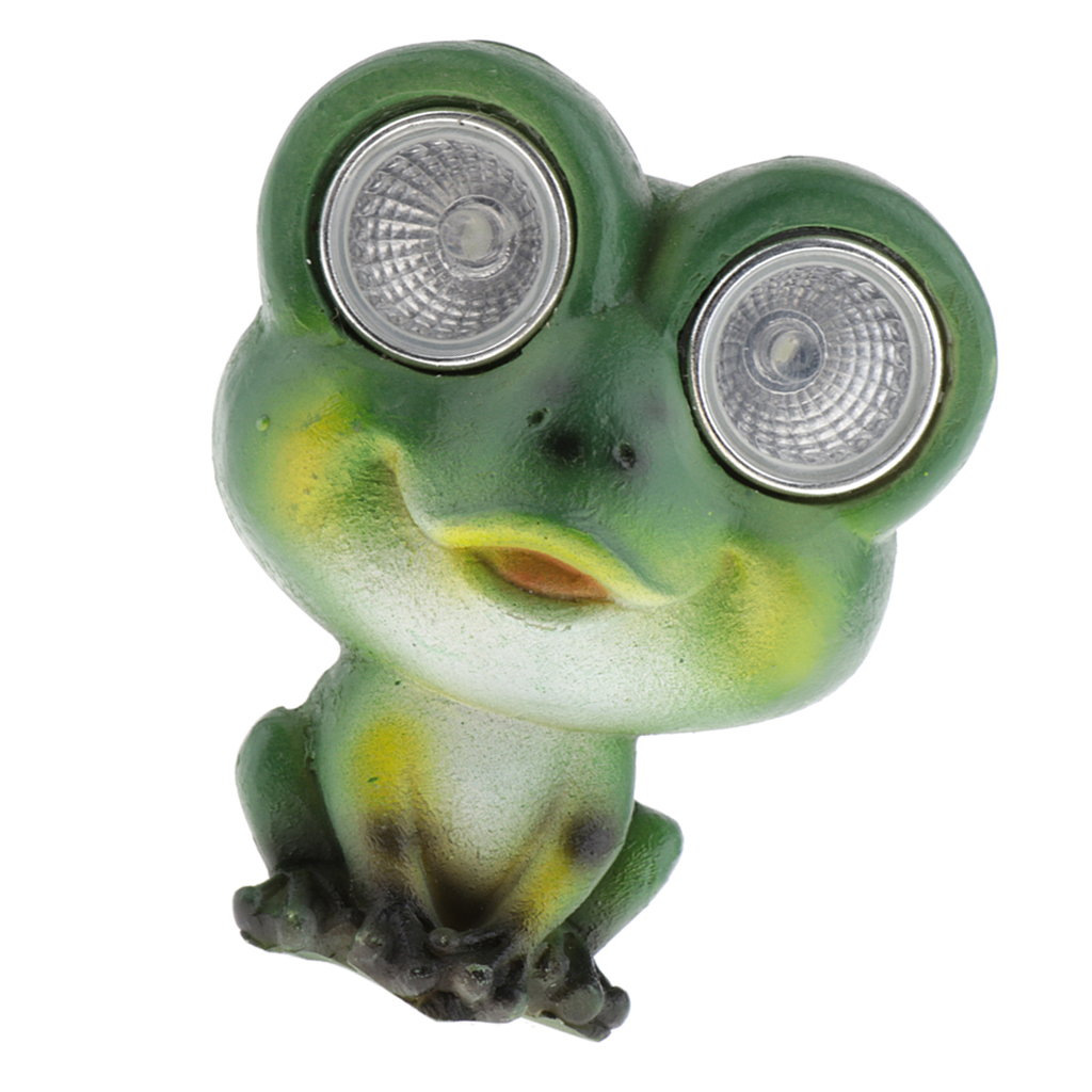 Green Frog Statue with Solar Light Eyes for Home Outdoor Decorations