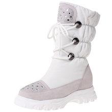 BONJOMARISA nouveau 34-41 marque mi-mollet bottes de neige femmes en cuir véritable daim plate-forme bottes chaussures compensées décontractées femme(China)