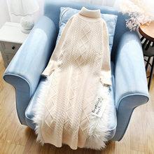 שמלות לנשים סרוג ארוך סוודר שמלת גולף מוצק חורף גבירותיי Vestidos סתיו Straigt מזדמן אלגנטי גברת בגדים(China)