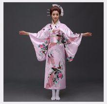 امرأة سوداء سيدة التقاليد اليابانية يوكاتا كيمونو مع زهرة Obi خمر فستان سهرة تأثيري حلي حجم واحد ZW01(China)