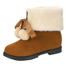 Sıcak kürk peluş astarı kış çizmeler bayan dantel-up ayak bileği çıplak çizmeler kare topuk rahat kısa tüp isıtıcı yürüyüş kar botları(China)
