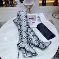 Seksi Yılan cilt diz Yüksek Çizmeler Kadın Nokta ayak gladyatör Hakiki Deri kat uzun çizmeler yüksek topuklu parti Çizmeler botas feminina(China)