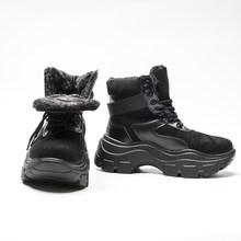 Fujin offre spéciale 2019 plate-forme bottes hiver femmes cheville en peluche fourrure chaude à lacets chaussons pour femmes moto en cuir bottes chaussures(China)