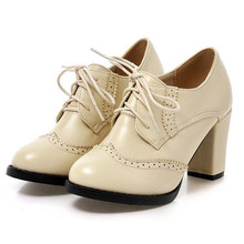 COVOYYAR 2019 Vintage Lace Up Frauen Pumpen Cut Out Oxford Schuhe Chunky Ferse Patent Leder High Heels Dame Stiefeletten WHH132(China)