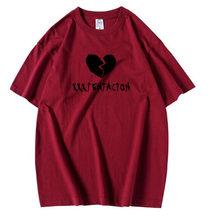 Xxxtentacion 슬픈 하트 프린트 T 셔츠 남성 Xxxtentacion 재미 T 셔츠 남성 여성 RIP 편지 인쇄 반팔 힙합 랩퍼 탑스(China)