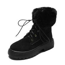 2019 yeni kar botları kadın düz topuk çizmeler kış batı botları kovboy çizmeler kadın ayakkabıları moda Martin çizmeler siyah yarım çizmeler(China)