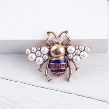 Bohemia Baru Kecenderungan Fashion Imitasi Mutiara Merah/Putih Warna Kaca Bee Serangga Bros untuk Wanita Laporan Perhiasan Grosir(China)