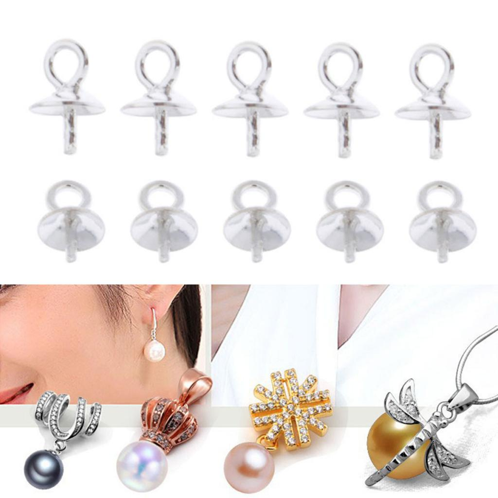 30pcs of 925 Sterling Silver Cup and Peg Bail Drop for Half Drilled Pearl Bead