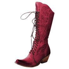 Frauen Lace Up Squsre Ferse Leder Schuhe Über Das Knie Ritter Stiefel Runde Kappe Platz Ferse Non-slip Damen high heels stiefel(China)