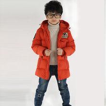 Kış çocuk ceketler erkek kız uzun kaban için 3-12 yıl moda bebek sıcak tutan kaban çocuk kapüşonlu mont erkek(China)