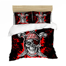 Bedding set Bedclothes Include Duvet Cover Pillowcase Print Home Textile Bed Linens Skull Cool Pirate Comforter King-Full Size(China)