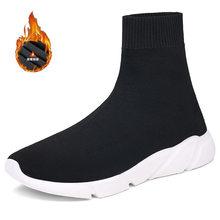 Outono alta superior tênis das mulheres dos homens quente forro de pelúcia sapatos de inverno moda meias botas homem grosso sapatos esportivos zapatos de hombre(China)