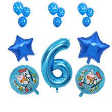 Kat Tema Doraemon Dekorasi Pesta Peralatan Makan Sekali Pakai Cangkir Kertas Piring Topi Kue Bendera Bayi Shower Anak Perlengkapan Pesta Ulang Tahun(China)