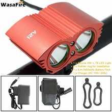 2 * XM-L T6 phare de vélo LED phare avant 3600lm Super lumineux vélo phare + 18650 batterie + chargeur + bandeau(China)