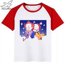 Pennywise Film Es Verlierer Die Scary Creepy Clown Oansatz T-Shirt Jungen und Mädchen Casual Kurzarm Sommer Kinder Kleidung T-shirt(China)