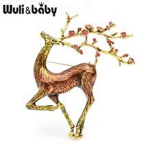 Wuli & bebê grande sika broches de veados feminino liga marrom esmalte alce animal broche pinos presentes de natal(China)