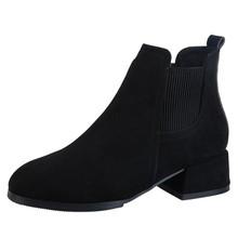 KARINLUNA yeni Dropshipping zarif slip-on patik muhtasar katı OL yarım çizmeler kadınlar 2019 bayanlar düşük tıknaz topuk ayakkabı kadın(China)