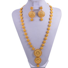 Wando הודו תכשיטי סט זהב צבע/נחושת שרשרת עגילי הערבי דובאי מסיבת חתונת Jewelr סט אמא מתנות להקת אריזת מתנה(China)