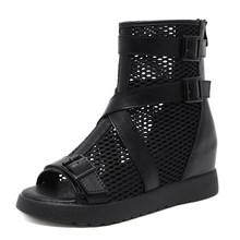 Gdgydh gotik yaz ayakkabı kadın gladyatör ayakkabı bayanlar moda toka kayış Hollow Out Mesh yarım çizmeler burnu açık fermuarlı(China)