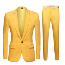 2020 новый мужской красочный свадебный костюм Блейзер размера плюс элегантный желтый зеленый синий фиолетовый костюм пиджак брюки 2 шт празд...(China)