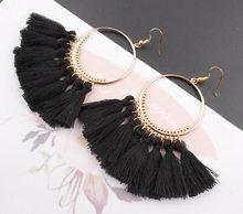 2019 עגילים חדשים לנשים אתני גדול זרוק עגילי בוהמיה תכשיטים אופנתי כותנה חבל פרינג 'ארוך להתנדנד עגילי מתנה(China)