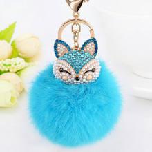 1Pcs Novo Fofo Fox Chaveiro Chaveiro Bola Pompom Pele De Raposa Charme Saco Chave Do Carro Chaveiro Anel Das Mulheres jóias(China)