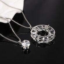אופנה עין חתול אבן כסף מצופה שרשרת תליון שרשרת ארוך שתי שכבות שרשרות שרשרת לנשים(China)