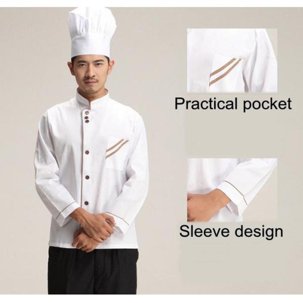Kitchen Chef Clothing Jacket Coat Restaurant Cook Uniform Long Sleeves XXXXL