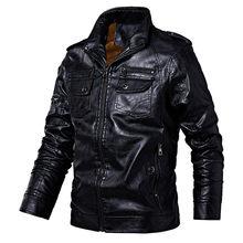 Chaqueta de cuero para hombre Abrigos de PU chaqueta de motorista para hombre de negocios de invierno chaqueta de piel sintética de lana gruesa de cuero para hombre a prueba de viento(China)